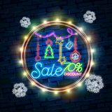 Christmas sale neon sign, bright signboard, light banner. New Year logo, emblem and label. Neon sign creator vector illustration