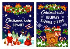 Christmas decorations fireworks sale vector poster. Christmas sale for New Year decorations and fireworks and special holiday season discount offer posters stock illustration