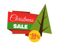 Christmas Sale -55 Off Poster Vector Illustration. Christmas sale -55 off, advertisement poster with evergreen pine tree and letterings in rectangular form and stock illustration