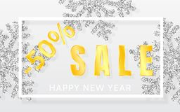 Christmas SALE 50% off background with shining silver snowflakes and white frame. Merry Christmas and Happy New Year card. Vector. Illustration royalty free illustration