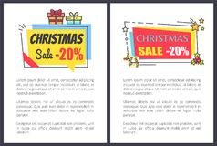 Christmas Sale -20 Off Banners with Text, Adverts. Christmas sale -20 off banners with text, advertisement labels with gift boxes, mistletoe branches, stars and Royalty Free Stock Images