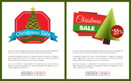 Christmas Sale 55 Off Card Vector Illustration. S with Christmas trees, advertising text, push-buttons isolated on white backgrounds with grey frames vector illustration