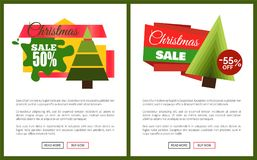 Christmas Sale 55 Off Card Vector Illustration. S with Christmas trees, advertising text, push-buttons isolated on white backgrounds with grey frames Royalty Free Stock Photos