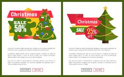 Christmas Sale 55 Off Card Vector Illustration. S with Christmas trees, advertising text, push-buttons isolated on white backgrounds with grey frames Stock Images