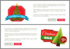 Christmas Sale 55 Off Card Vector Illustration. S with Christmas trees, advertising text, push-buttons isolated on white backgrounds with grey frames Stock Photos