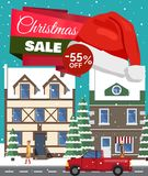 Christmas Sale -55 Off Poster Vector Illustration. Christmas sale -55 off, poster with headline, buildings with windows, trees covered with snow, walking people stock illustration