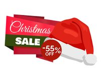 Christmas Sale 55 Off Promo Label Santa Claus Hat. Inscription on color ribbons advertisement badge with red winter headwear icon isolated on white Royalty Free Stock Image