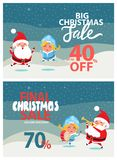 Christmas Sale Off Promo Poster Santa Snow Maiden. Final big Christmas sale 40, 70 off promo poster with Santa and Snow Maiden playing on trumpet and drum on Royalty Free Stock Photography