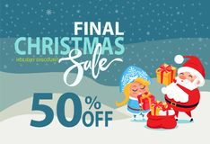 Christmas Sale Off Promo Poster Santa Snow Maiden. Final Christmas sale holiday discount 50 off poster Santa and Snow Maiden putting presents boxes into sack on Stock Photos
