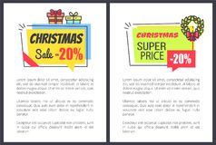 Christmas Sale 20 Off Promo Posters with Discount. Labels decorated by gift boxes, winter wreath and present gift boxes vector illustrations with text stock illustration