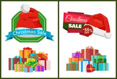 Christmas Sale with 55 Off Promotional Posters. With huge heap of presents wrapped in decorative paper with bows and Santas hat vector illustrations royalty free illustration