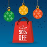 Christmas sale off season bag gift and balls ornament Royalty Free Stock Images