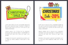 Christmas Sale -20 Off Set Vector Illustration. Christmas sale -20 off, set of banners with informational text and stickers made up of shapes, titles and icons Stock Image