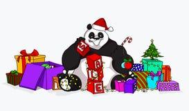 Christmas Sale Panda with blocks royalty free stock photo