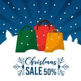 Christmas sale 50 percent offer season commerce promotion. Vector illustration Royalty Free Stock Images
