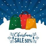 Christmas sale 50 percent offer season commerce promotion. Vector illustration stock illustration