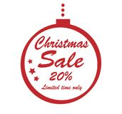 Christmas sale 20 percent red stamp. Isolated on white background vector illustration