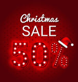 Christmas sale 50 Percent  retro sign. Christmas sale 50 Percent Discount retro sign Stock Image
