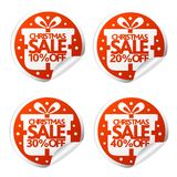 Christmas sale 10,20,30,40 percent stickers with box. Vector illustration royalty free illustration