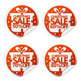Christmas sale 50,60,70,80 percent stickers with box. Vector illustration stock illustration