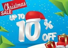 Christmas sale 10 percent. Winter sale background with 3d ice text with hat santa claus banner and snow. New year sale. Vector. Illustration royalty free illustration