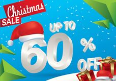 Christmas sale 60 percent. Winter sale background with 3d ice text with hat santa claus banner and snow. New year sale. Vector. Illustration royalty free illustration