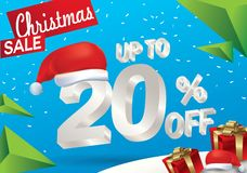 Christmas sale 20 percent. Winter sale background with 3d ice text with hat santa claus banner and snow. New year sale. Vector. Illustration stock illustration