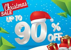 Christmas sale 90 percent. Winter sale background with 3d ice text with hat santa claus banner and snow. New year sale. Vector. Illustration stock illustration