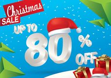 Christmas sale 80 percent. Winter sale background with 3d ice text with hat santa claus banner and snow. New year sale. Vector. Illustration royalty free illustration