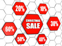 Christmas sale and percentages in red hexagons buttons. Christmas sale and different percentages - white text and ciphers in 3d red hexagons buttons in cellular stock illustration