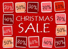 Christmas sale and percentages in squares - retro red label Royalty Free Stock Photography