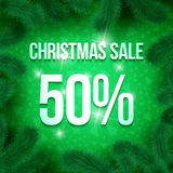 Christmas sale pine-10. Christmas sale sign vector label 50 percent sale with fir tree branches with green ornament background. Winter sale. Greeting Card Ready vector illustration