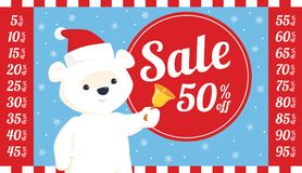 Christmas sale polar bear. Vector round sale sign with illustration of baby polar bear in santa hat ringing a bell. Set of all relevant numbers for different Stock Image