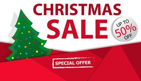 Christmas sale poster or banner red background with Christmas tree. Vector. Illustration Royalty Free Stock Images