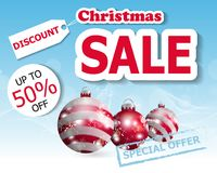 Christmas sale poster or banner with three Christmas balls. Vector. Illustration Stock Photography