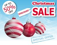 Christmas sale poster or banner with three Christmas balls. Vector. Illustration Royalty Free Stock Image