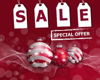 Christmas sale poster or banner with three red Christmas balls. Vector. Illustration Stock Photography