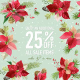 Christmas Sale Poster or Banner - with Winter Poinsettia Flowers Royalty Free Stock Photos