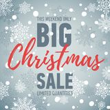 Christmas sale banner. Big sale. Holiday discount. Winter seasonal banner. Advertising shopping poster. Christmas sale poster. Big sale. Holiday discount Stock Photography