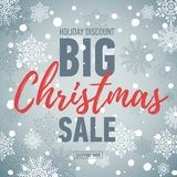 Christmas sale banner. Big sale 50. Holiday discount.. Christmas sale poster. Big sale 50. Holiday discount. Winter seasonal banner with snow background Stock Photos