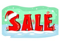 Christmas sale poster with cute santas stock illustration