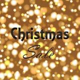 Christmas sale poster on defocused lights background. Vector.  Stock Illustration