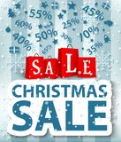 Christmas sale poster design with shopping bags Royalty Free Stock Photography
