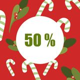 Christmas Sale 50 - Mistletoe Labels vector illustration flat. Christmas sale poster. Discount tag 50 percent, Christmas circle, Vector typography isolated on vector illustration