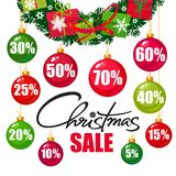 Christmas sale poster. Discount tags 10 15 20 25 30,40 50 60 70 percent off in the shape of Christmas balls. Handwritten lattering. Vector typography isolated Royalty Free Stock Images