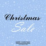Christmas sale poster with falling snowflakes on blue background. Vector.  Royalty Free Stock Photo