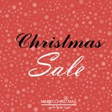 Christmas sale poster with falling snowflakes on red background. Vector.  Stock Photography