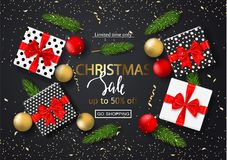 Christmas sale poster with gift boxes, serpentine, balls and tree branches. Vector illustration for website and banners, posters,. Ads, coupons, promotional Royalty Free Stock Image