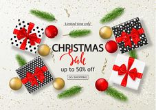 Christmas sale poster with gift boxes, serpentine, balls and tree branches. Vector illustration for website and banners, posters,. Ads, coupons, promotional Stock Photos