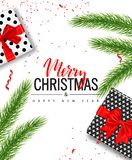 Christmas sale poster with gift boxes, serpentine and tree branches on white background. Vector illustration for website. And banners, posters, ads, coupons Stock Photography